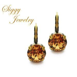 Swarovski® Crystal Earrings, Light Colorado Topaz